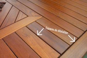 Espace de dilatation entre les lames de terrasse bois