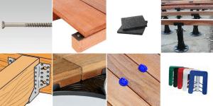 accessoires de pose pour terrasse bois : visserie, cales, plots.