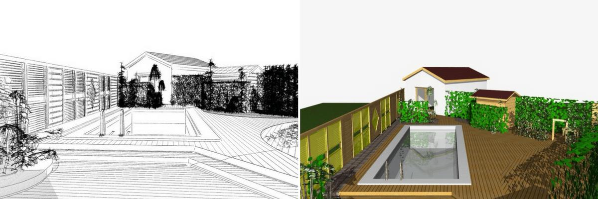 plan aménagement jardin terrasse en bois exotique