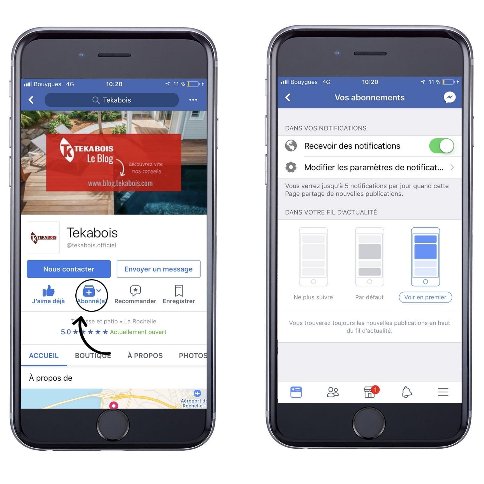 page facebook Tekabois sur mobile