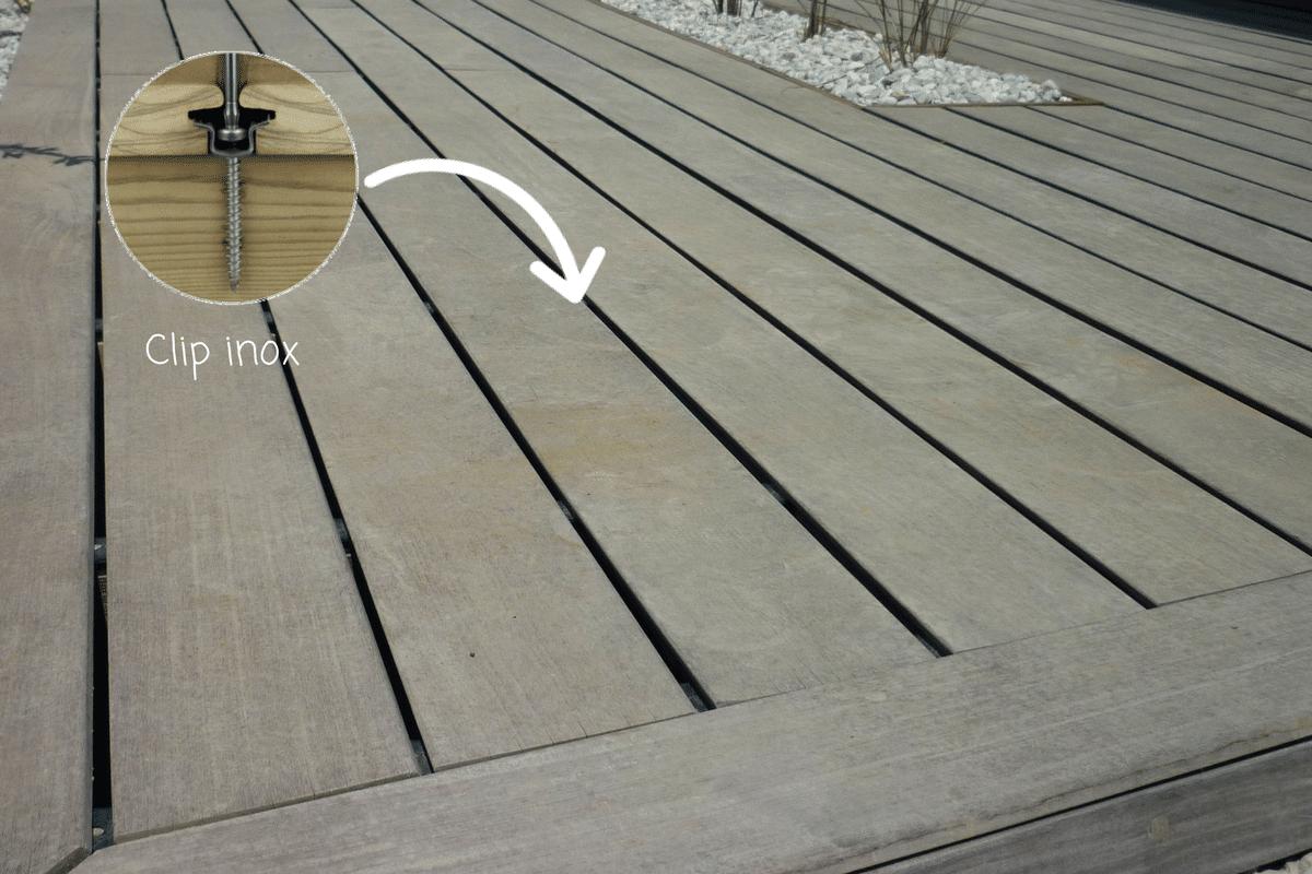 fixation invisible par clip terrasse bois